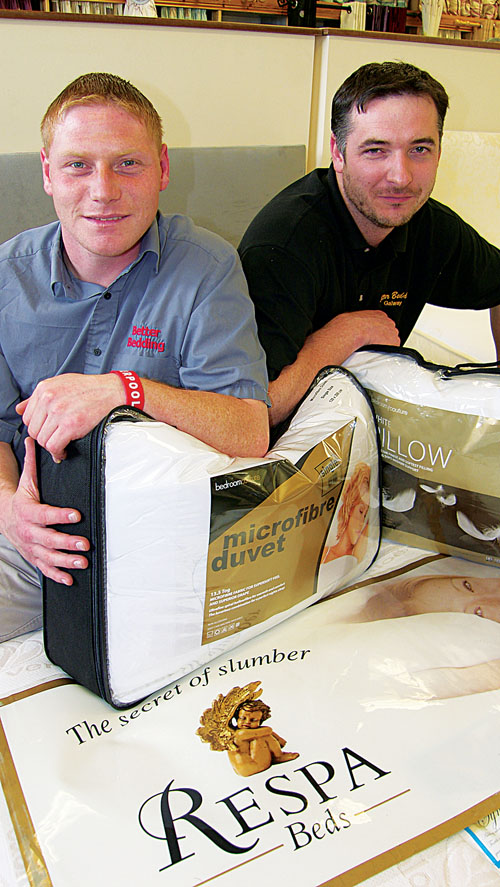 Coley Walsh (left) and Neil Kilmartin of Better Bedding launch the Respa great duvet and pillow(s) giveaway.