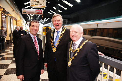 Minister of Transport Noel Dempsey with Paul Shelly, Galway Chamber of Commerce president, and the Mayor of Galway Declan McDonnell at the opening of the long-awaited Western Corridor rail route from Galway to Limerick this week.