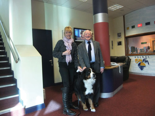 My pedigree chum — President-elect Michael D Higgins with Galway Bay fm's Valerie Hughes, who has helped select the official First Pets of the Higgins administration. Photos courtesy of Valerie Hughes and Una Molloy.