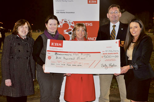 Pictured at the presentation of the EBS National Community Fund 2012 local award to Buccaneers Minis Rugby are: Caroline Devine (EBS), Dr Michelle O'Connor (secretary Buccaneers Minis Rugby), Betty Martin (manager, EBS Athlone), Diarmuid Morrissey (Buccaneers senior vice-president), and Sheila Martin (EBS).