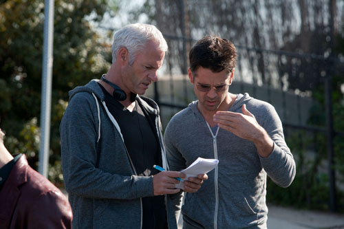 Martin McDonagh and Colin Farrell on the set of Seven Psychopaths.