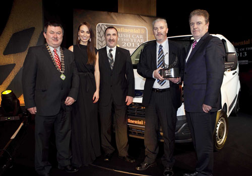 Gerry Murphy, chairman of the IMWA; model Daniella Moyles; Michael Moroney, chairman of the IMWA Van of the Year jury; Ciaran McMahon, marketing director at Ford Ireland, and Paddy Murphy of Continental Tyres Ireland.