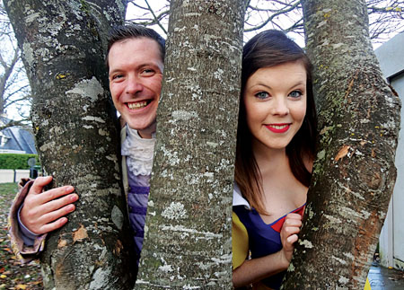 Declan Gardiner, who plays the Prince, and Aoife Kilbane, who plays Snow White, in this year's Renmore Pantomime.