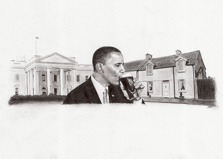 The drawing of President Obama downing his pint.
