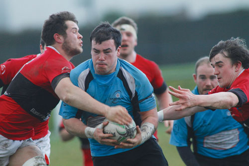 Jason East on the attack for the home side in Saturday's  Ulster Bank AIL division 2a game against UCC at Crowley Park which Galwegians won to preserve this season's 100 per cent home record.		Photo:-Mike Shaughnessy