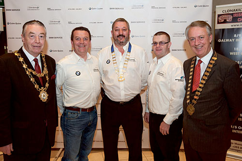 At the launch of this year's Galway International Rally were Galway city  Mayor Padraig Conneely, Colm Quinn of MD Colm Quinn BMW, rally sponsors, Galway Motor Club president Mark Parsons, clerk of the course Kieran Donohue, and Galway county Mayor Liam Carrol.