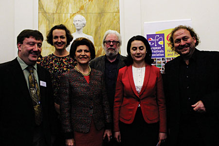 Pictured at the Launch of the European Festival Labelling Pilot Project were Left to Right Colm Croffy Executive Director, A.O.I.F.E., Kathryn Deventer Sec. General E.F.A., Commissioner Androulla Vassiliou,  Hugo De Graff Project Director EFA, Sona Hovhannisyan, General Manager Yerevan Perspectives International Music Festival and Darko Brlek President E.F.A.