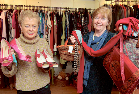 Galway Simon Shop volunteers Kate Mullins and Marie Higgins with some of the many fashion accessories to freshen your your spring collection.  Photo:-Mike Shaughnessy
