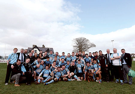Galwegians celebrate the successful conclusion to a memorable season and promotion to division 1B of the Ulster Bank League.  Photo: Mike Shaughnessy.