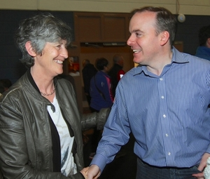 Cllr Catherine Connolly and Cllr Michael Crowe at the count in the Westside Community Centre on Saturday. Photo:- Mike Shaughnessy