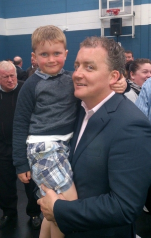 FF Cllr Ollie Crowe pictured with his son Luke at the count centre in Westside on Sunday. Photo:- Kernan Andrews