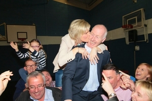 A happy moment in an uncertain election for FG. John Walsh being congratulated by his wife Natalie after being elected at the counting of votes for the Galway City Local election in Westside Community Centre on Saturday. Photo:- Mike Shaughnessy