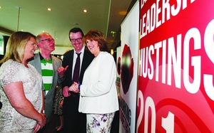 Labour leadership candidate Joan Burton with Galway Labour members Sen Lorraine Higgins, Cllr Billy Cameron, and Cllr Neil McNelis at the recent Labour leadership hustings in the Clayton Hotel. Photo:- Mike Shaughnessy.