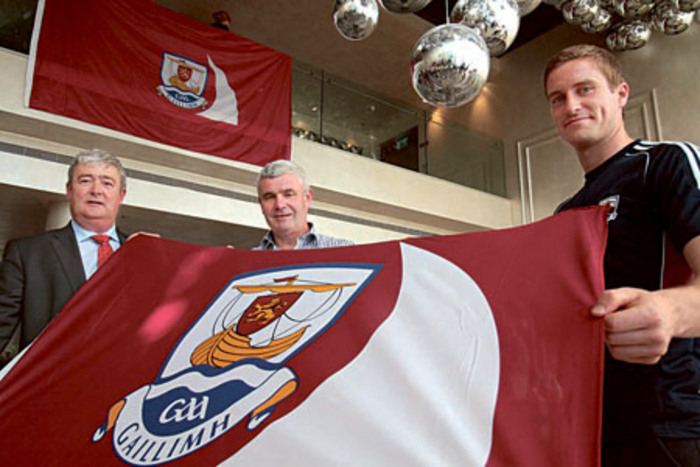 John Hynes secretary of the Galway GAA County board, Padraig O'Ceidigh chairman of the Tribesman GAA, and Gary O'Donnell Galway senior football captain at the launch of the Galway GAA Supporters Club Tribesmen GAA in the gHotel on Monday. Photo:-Mike Shaughnessy