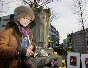 Patricia Burke Brogan at the Magdalen Women's memorial at Forster Street, Galway.