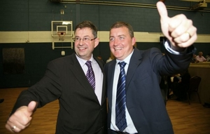 Éamon Ó Cuív and Ollie Crowe pictured at the 2009 local election count. Will both be celebrating at the 2016 General Election?