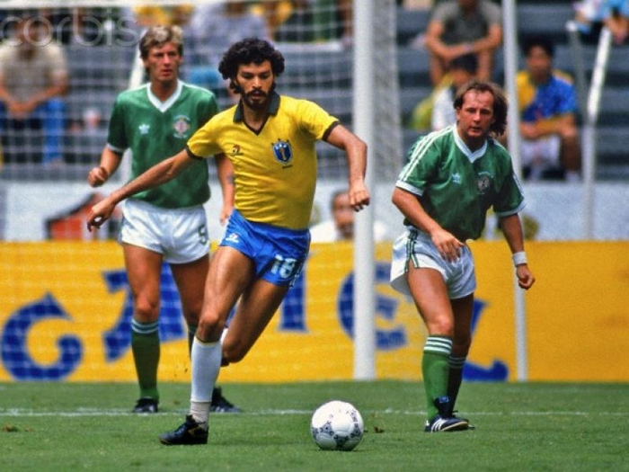 The late, very great Socrates in action against Northern Ireland at Mexico 86.