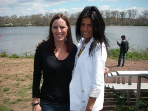 Brave Miss World director Cecilia Peck with activist Linor Abargil.
