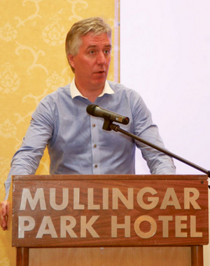 John Delaney speaking at the FAI confederation of supporters clubs conference in The Mullingar Park Hotel on Wednesday. Photo: Thomas Gibbons