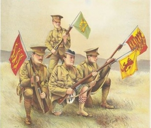 A detail from a WWI recruiting poster, which read 'Who can beat this plucky four? But all the same we're wanting more.'