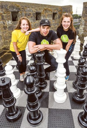 Bressie is pictured with Hannah Connaughton and Mollie Connaughton, both from Mount Temple Baylin, at the recent launch of the HSE Community Games 2014 National Festival at Athlone Castle. Photo: Sportsfile