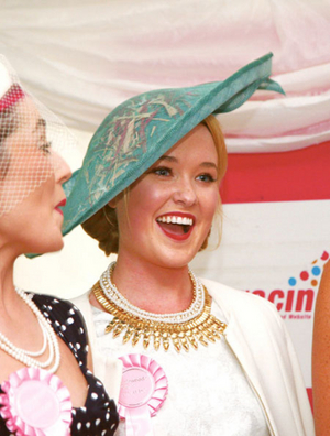 Westmeath Rose Katie Murphy from Mullingar who won the best dressed lady at Kilbeggan Races on Saturday. Photo: Thomas Gibbons