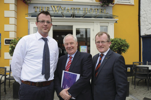 Minister of State for Tourism and Sport Michael Ring, with Niall Gibbons, CEO of Tourism Ireland (right), and Barney Clarke, general manager of the Wyatt Hotel, Westport, after a meeting to discuss a programme of activity to highlight Mayo around the world.