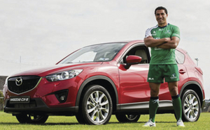 Pictured at the launch, alongside the fleet of Mazda cars, including the Mazda CX5, the new Mazda3 and the Limited Edition 25th Anniversary MX-5 is captain John Muldoon, Mazda Ambassador Mils Muliaina, Kieran Marmion, Ronan Loughney, and Jake Heenan. Photo: ©INPHO/James Crombie