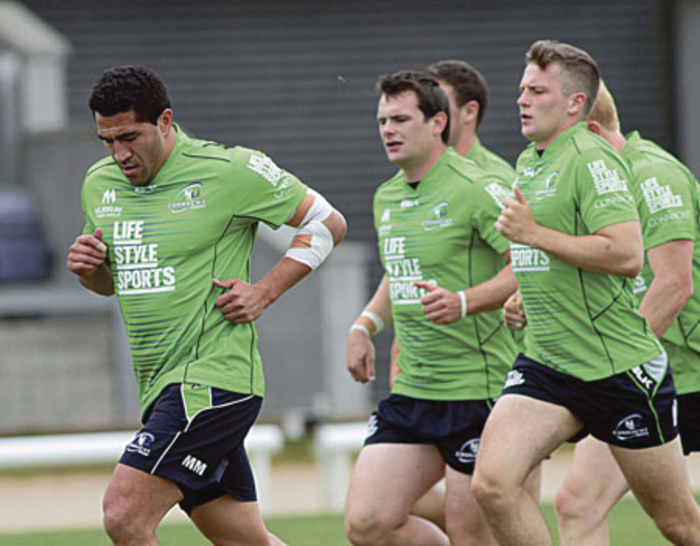 Mils Muliaina, with elbow strapped, trains with the Connacht squad in the final stages of their pre-season preparations at the Sportsground on Tuesday  before their opening round of the GUINNESS PRO12 kicks off on Saturday when Newport Gwent Dragons visit the Sportsground. Kick-off is at 5pm.  Photo:-Mike Shaughnessy.