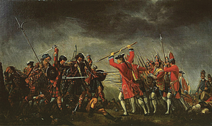 The battle of Culloden April 16 1746, painted for Lord Cumberland by David Morier in the same year as the battle.  Note the use of the bayonet by the royal army.