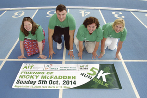 Pictured at the launch of the AIT 5k for the IMNDA were Nicky's daughter Karen Hardiman; Ireland and Connacht rugby player Robbie Henshaw, Áine McFadden; and Marie Reavey, IMNDA. Photo: molloyphotography