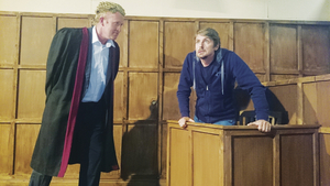 Ian Munt as Leonard Vole in the witness box and Frank O'Brien as Mr Myers QC