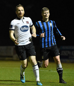 Stephen O'Donnell, Dundalk, in action against Derek Prendergast, Athlone Town last weekend. Photo: Sportsfile